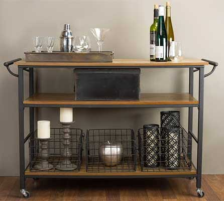 Industrial Vintage Style Wood and Metal Kitchen Cart