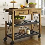 Metal and Wood Industrial Style Kitchen Cart with 2 Drawers