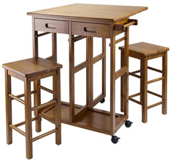 Kitchen Island Cart with Matching Stools