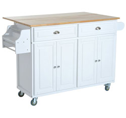 Rustic Farmhouse Rolling Kitchen Island in White with Wood Top