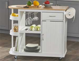 Multi Functional Kitchen Cart with Wheels in White