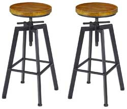Indsutrial Style Adjustable Height Swivel Stools to use with Butcher Block Kitchen Island on Wheels