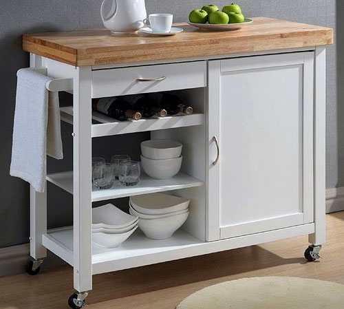Baxton Studio White Butcher Block Island