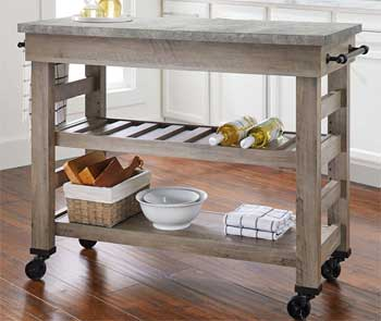 Better Homes and Gardens Farmhouse Style Cart with Wine Bottle Rack