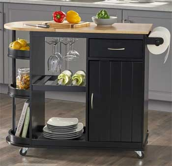 Black Rolling Kitchen Cart with Wine  Glass Holders