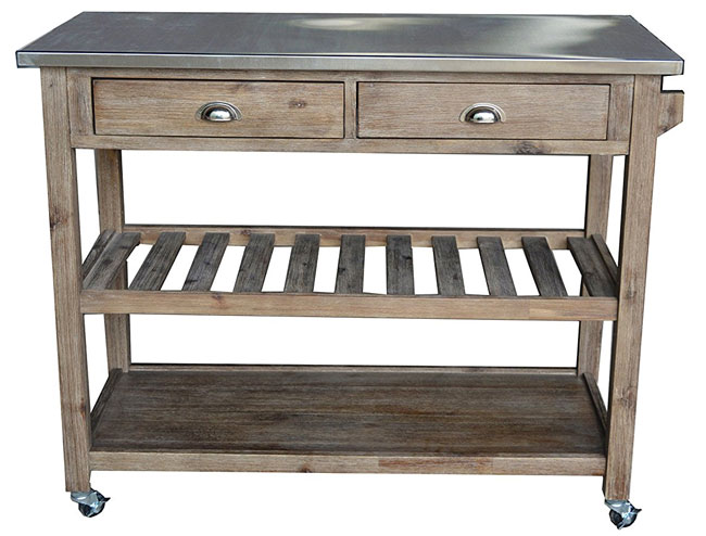 Boraam Rustic Kitchen Island with Stainless Steel Top, Wire-Brushed Finish and Locking Wheels