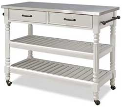 Bowery Hill Stainless Top Kitchen Cart with White Paint Finish and Antique Bronze Hardware