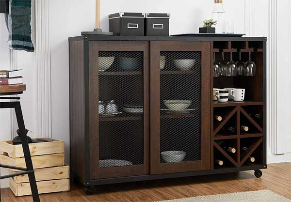 Buffet Cabinet with Wheels, Wine Rack, Glass Holder, Shelves and Sliding Cabinet Doors