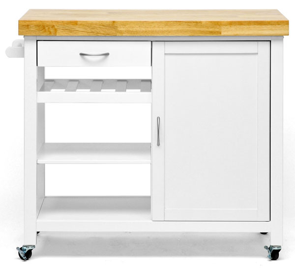 White Butcher Block Island on Wheels