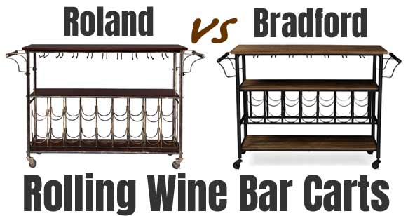 Compare the Roland and Bradford Rolling Wine Bar Carts