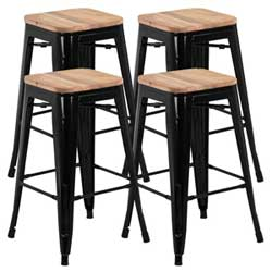 4 Rustic Farmhouse Counter-Height Bar Stools with Black Metal Legs to Match Mobile Kitchen Islands