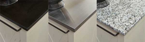 Countertop Styles: Black Granite, natural Wood, Stainless Steel and Salt and Pepper Granite