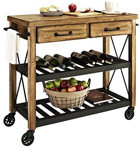 Crosley Furniture Industrial Kitchen Cart with 2 Metal Racks for Wine Bottles and Storage