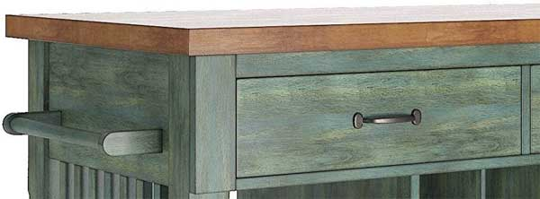Distressed Finish on Green Vintage Style Rolling Kitchen Cart