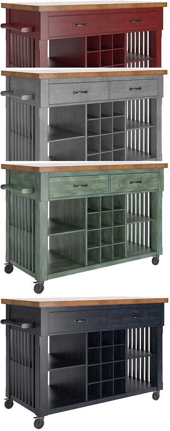 Distressed Wine Cart Kitchen Island
