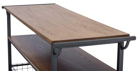 Distressed Wood Veneer Tabletop on Vintage-Style Kitchen Cart
