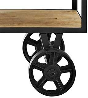 2-Way Casters on Farmhouse Kitchen Cart