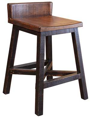 Wood Farmhouse Stool Chair that Matches Barn Door Island on Wheels
