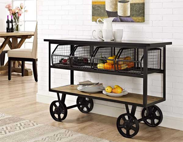 Industrial Farmhouse Kitchen Cart on Large Casters