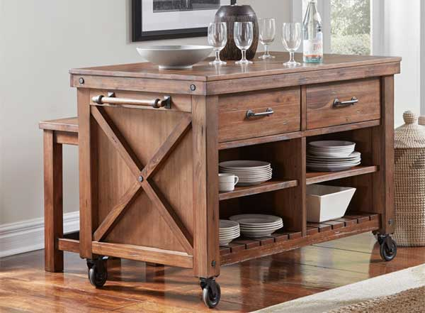 Farmohouse Kitchen Island with Wheels, Distressed Finish, Drawers and Open Shelves