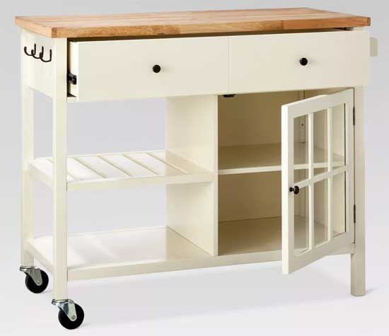 Farmhouse Style Kitchen Cart with Wheels and Storage
