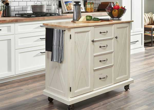 Off White Farmhouse Style Kitchen Island with Wood Top and Caster Wheels