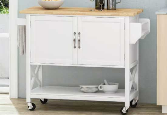 Finzer Farmhouse Kitchen Cart in White