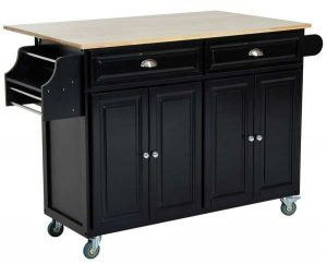 HomCom Rolling Kitchen Island with Flip-Up Table
