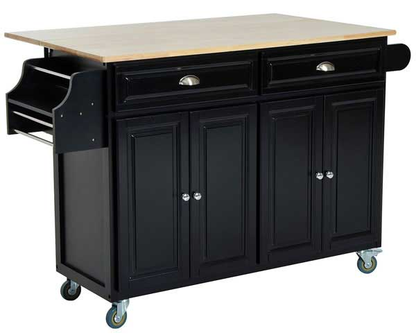 Homcom Black Rolling Kitchen Island with Cabinets and Drop Leaf Table