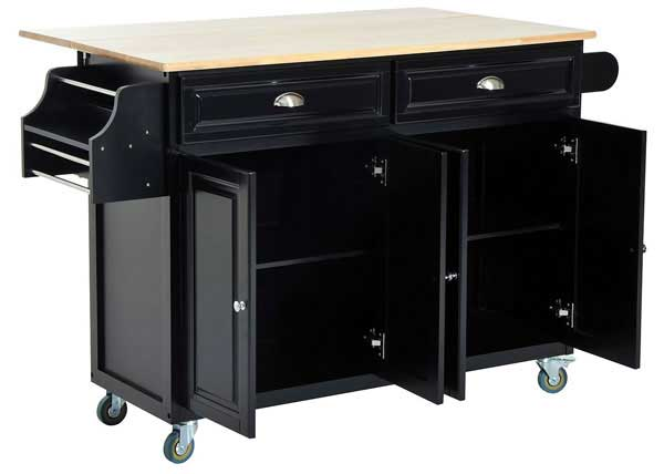 Homcom Black Rolling Kitchen Island with Cabinets Open