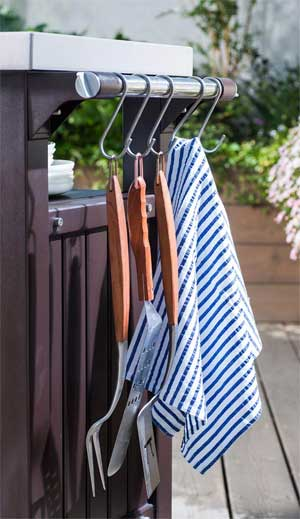 Utensil Hooks and Towel Rack on Outdoor BBQ Table