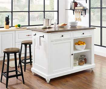 White Dorel Home Mona Kelsey Kitchen Island Comes with 2 Stools, Lots of Storage Space and a Towel Rack