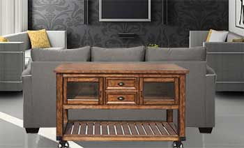 How to Use a Mobile Kitchen Cart as a Room Divider Behind a Sofa