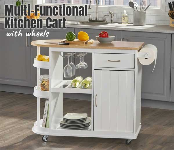 Multi-Functional Kitchen Cart with Wheels