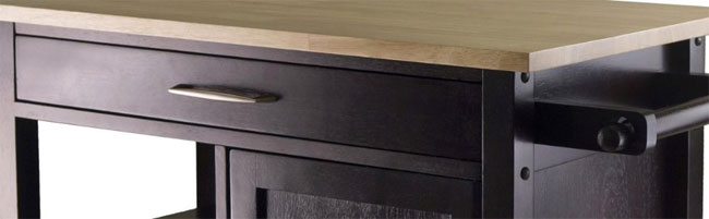 Winsom Mali Kitchen Island Cart Features: Tabletop, Drawer Handle, Hanging Bar, Cabinetry Finish