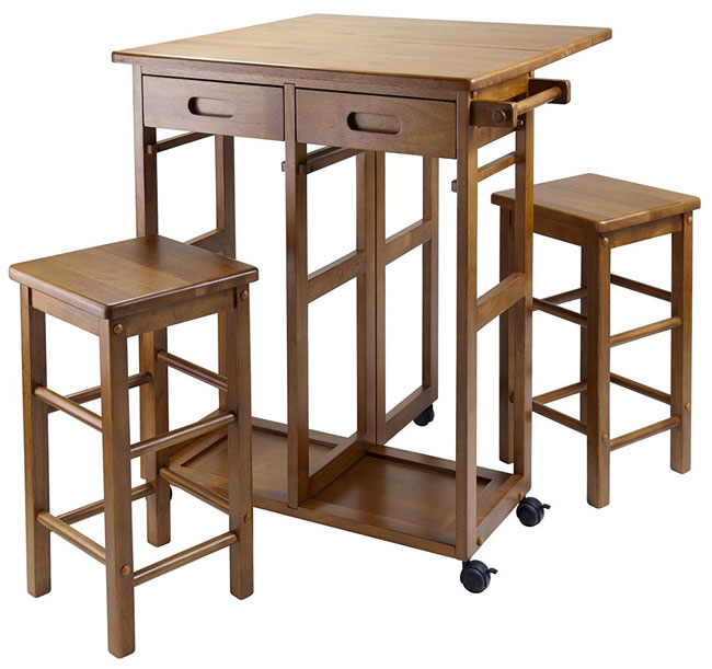 Teak Winsome Kitchen Island Cart with Stools