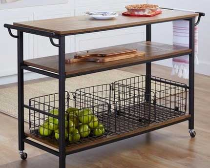 Industrial Wood and Metal Kitchen Cart... [5 Ways to Use It]