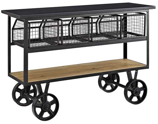 Industrial Metal and Wood Kitchen Serving Cart on Casters