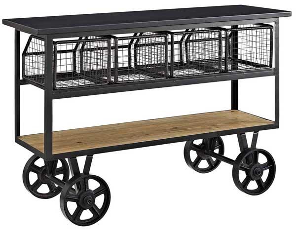 Metal Farmhouse Kitchen Cart on Casters