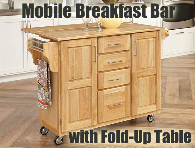 Mobile Breakfast Bar with Fold-Up Table