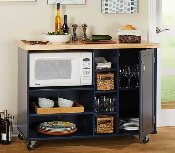 Mobile Microwave Cart with Shelves and Cabinets