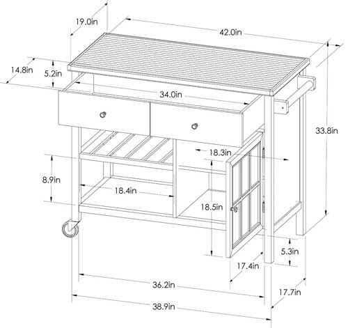 Modern Kitchen Cart Dimensions