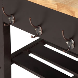 Close-Up of Double Hooks on Modern Kitchen Island Cart