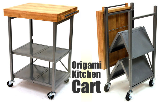 How the Origami Kitchen Cart Works: Open and Folded