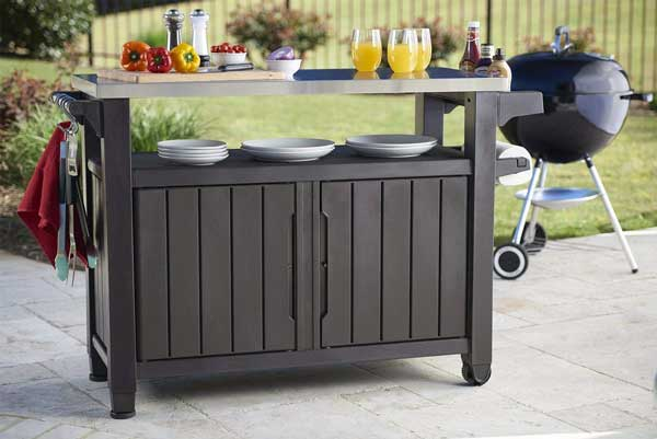 Outdoor Serving Table with Storage and Caster Wheels