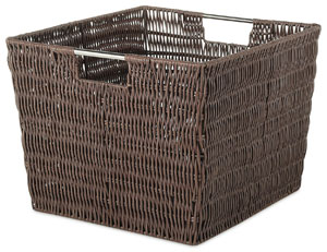 Whitmor Rattique Storage Tote - Looks like Woven Wicker, but Actually is Durable Waterproof Plastic Resin