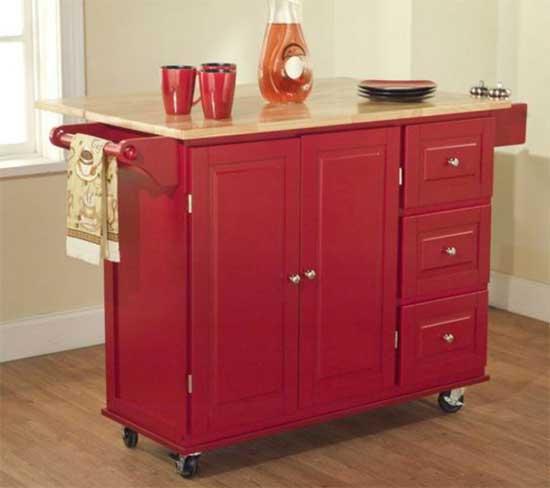 Red Kitchen Island Cart on Wheels