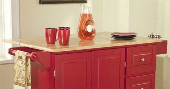 Mobile Red Kitchen Island on Caster with Natural Wood Top