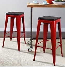 Red Metal Stools to Match the Red Farmhouse Style Rolling Kitchen Cart