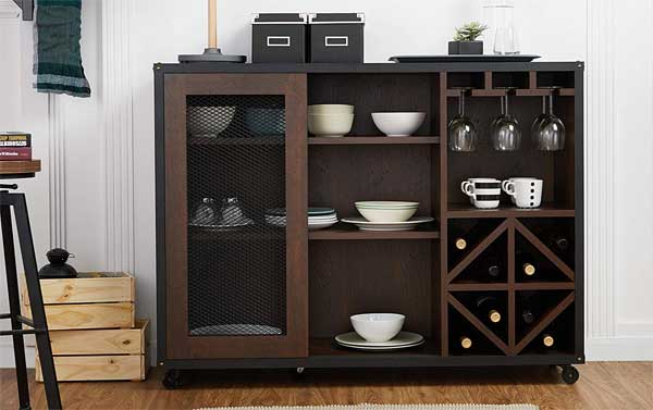 Rolling Buffet Cabinet with Wine Store and Sliding Doors